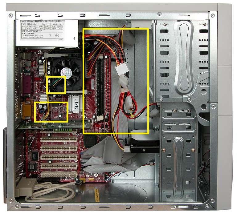 Расположение проводов в системном блоке.