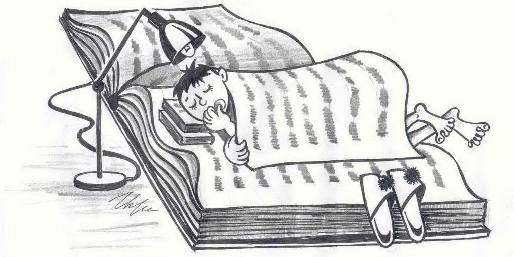 Спящий человек с книгой.