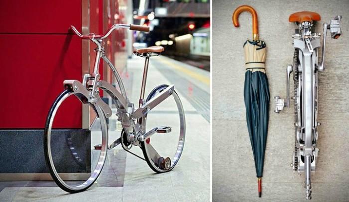 Велосипед складывается до размеров зонтика