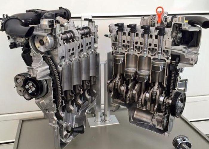 Рядный 4 цилиндровый двигатель в разрезе, демонстрация работы цилиндров