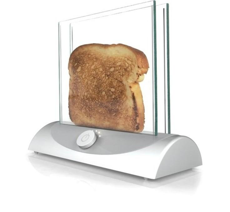 Тостер со стенками из стекла.
