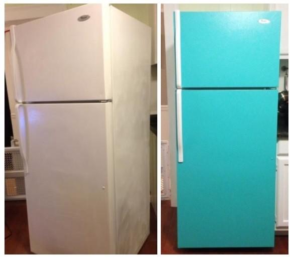 Холодильник до покраски и после.