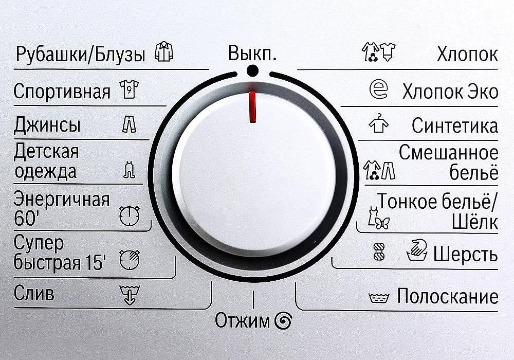 Значки на стиральной машине.