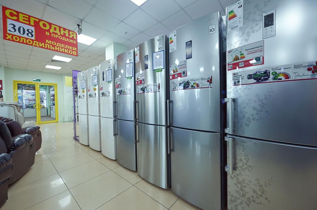 Ассортимент холодильников.