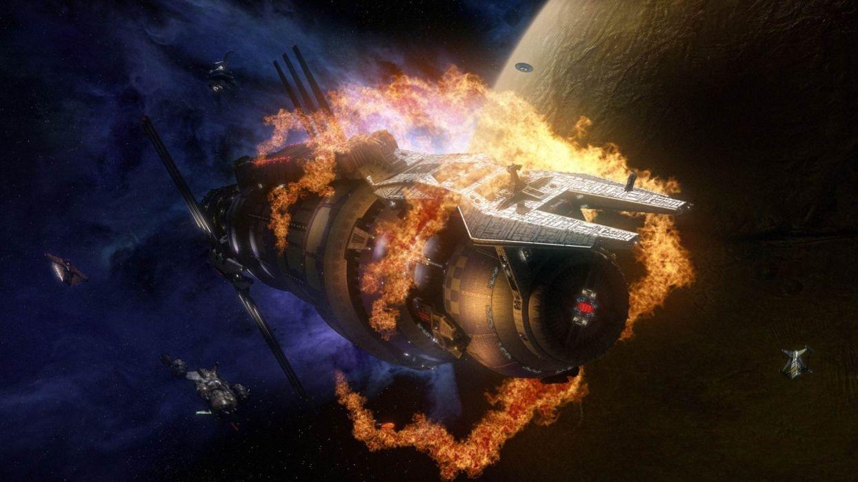 Горящий космический корабль