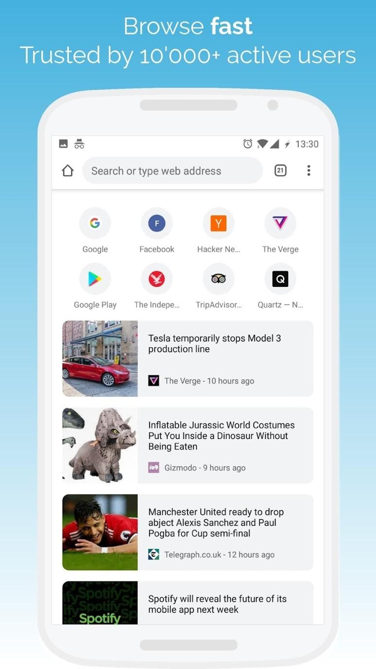 браузер Kiwi мобильный